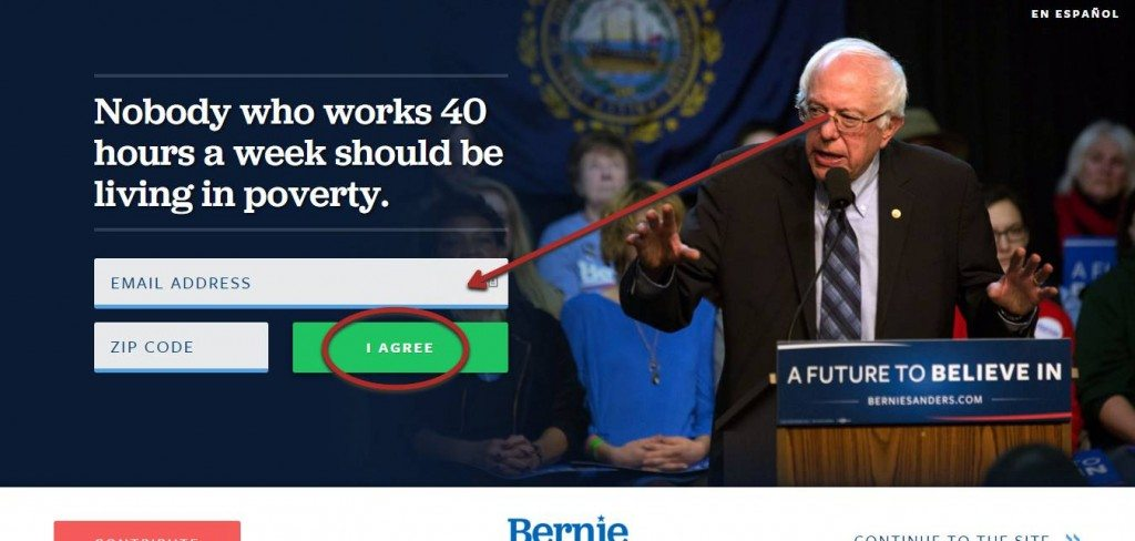 bernie sanders using email marketing